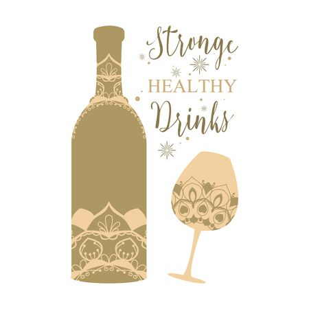 Bottle and glass unique with angela. Vector illustration