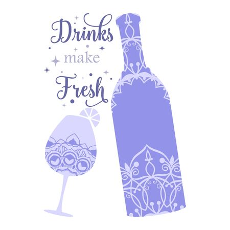 Bottle and glass unique with drink amarula. Vector illustration