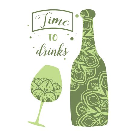 Antique bottle wine and glass champagne for celebrating party. Vector illustration