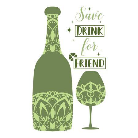 Antique design for bottle wine and glass champagne. Vector illustration