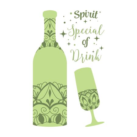 Green bottle champagne and glass wine. Vector illustration
