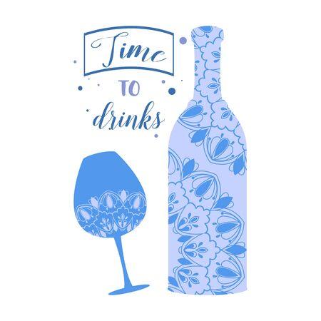 Unique shape design for bottle and glass champagne. Vector illustrationration 向量圖像
