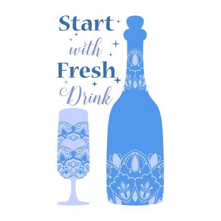 Elegant Dark blue color of bottle and glass with modern art design. Vector illustration 向量圖像