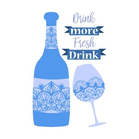Bright blue color of bottle and glass for wine and beer. Vector illustration
