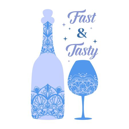 Modern design of alcohol bottle and wine glass. Vector illustration 向量圖像