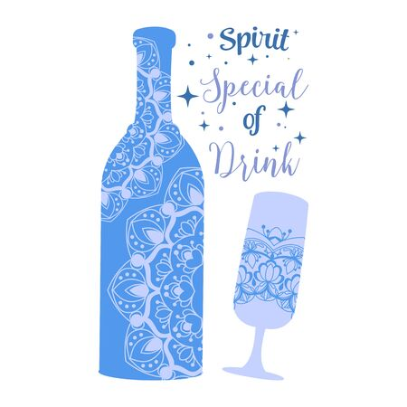 Wine bottle and glass champagne with antique design. Vector illustration 向量圖像