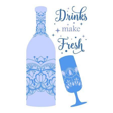 Elegant Decoration for wine bottle and glass champagne. Vector illustration