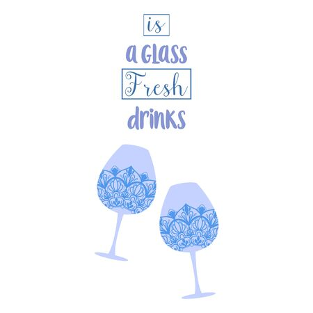 Two stylish decoration glass with amarula and angela for party. Vector illustration