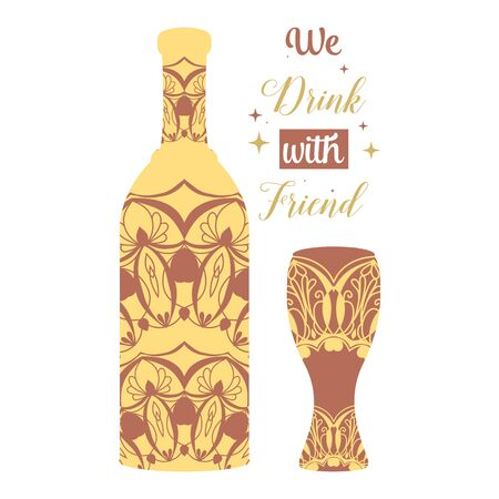 Unique bottle and glass with beautiful Angela lettering design. Vector illustration