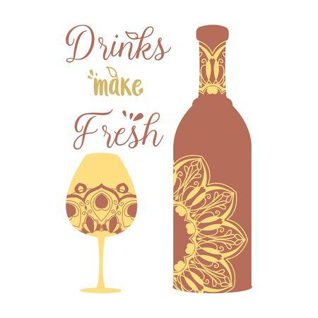 Vintage design for Bottle and glass with drink wine. Vector illustration 向量圖像