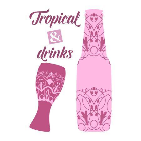 Modern design for wine bottle and amarula glass. Vector illustration 向量圖像