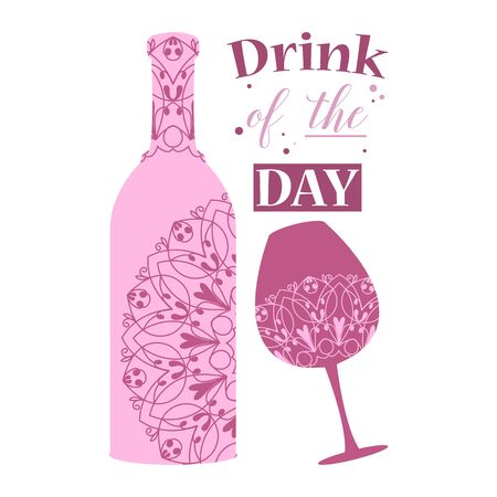 The beauty violet bottle and glass for delicious wine and beer. Vector illustration