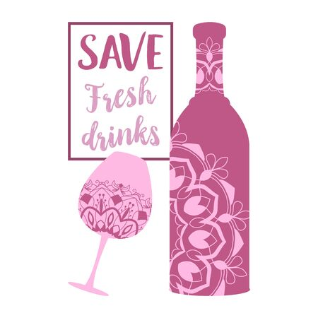 Dark pink bottle and glass with premium quality champagne. Vector illustration