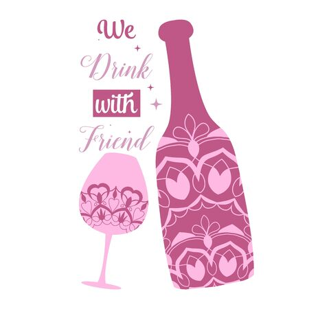 Soft mandala design of alcohol glass and bottle for special party. Vector illustration 向量圖像