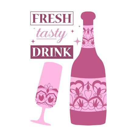 Violet bottle and glass for drink cold tasty alcohol. Vector illustration