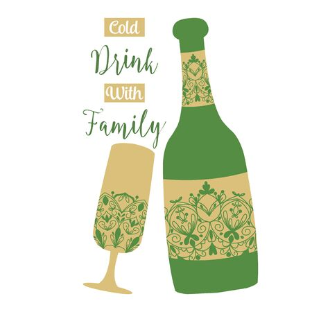 Antique Style of bottle beer and glass champagne for summer party celebration. Vector illustration