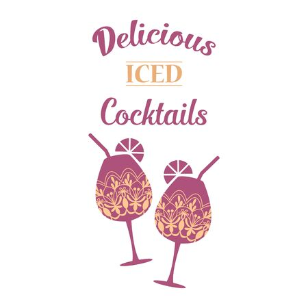 Two glasses of beer, wine and alcohol with modern orchid purple color. Vector illustration