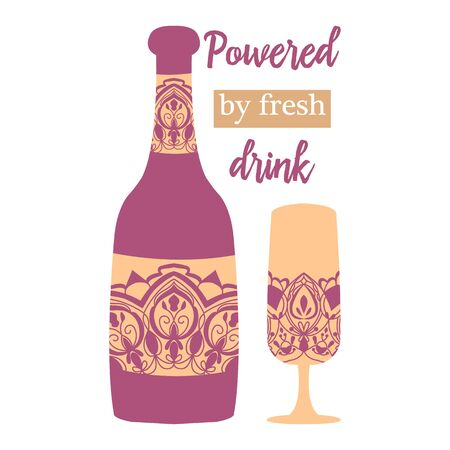 Chic orchid purple color of bottle and glass for beer and alcohol. Vector illustration 向量圖像