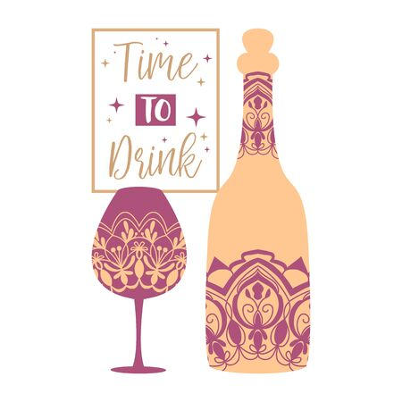 Wine bottle and glass champagne with unique mustard color design. Vector illustration