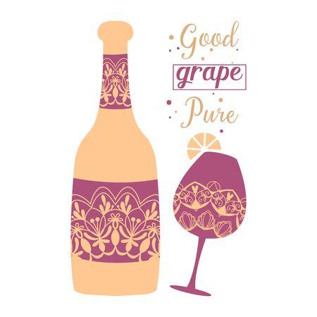 Mandala art design of Glass and bottle champagne for winning party. Vector illustration