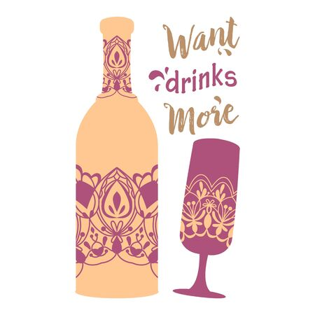 Simple purple design for bottle wine and glass champagne. Vector illustration