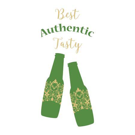 Dark green elegant design for fresh authentic alcohol bottle. Vector illustration