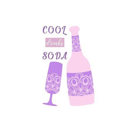 Beer bottle and glass wine with unique dark orchid color design. Vector illustration Illustration