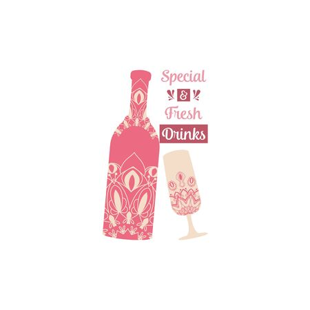 Wine bottle and glass alcohol with antique indian red color design. Vector illustration Illustration