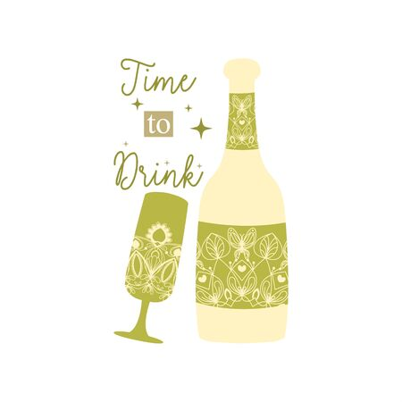 Green olive concept style of bottle and glass for amarula and wine. Vector illustration