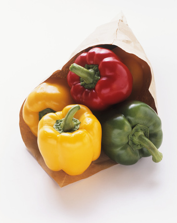 brownness: Assorted Bell Peppers in Brown Paper