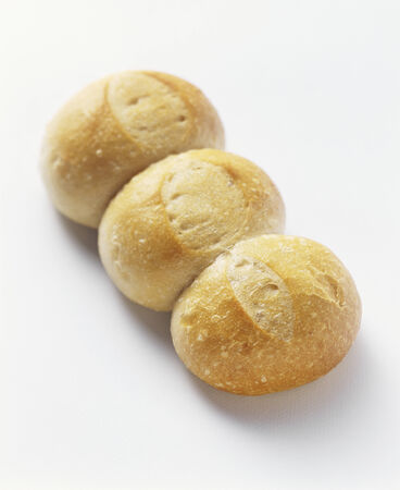 several breads: White Bread Rolls