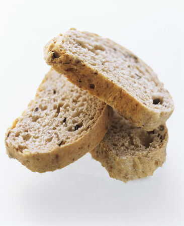 several breads: Three Slices of Olive Bread