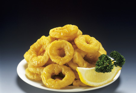 calamares: Onion Rings on a Plate with Lemon Wedge and Parsley LANG_EVOIMAGES