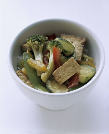 beancurd: Tofu and Vegetable Stir Fry Over Rice