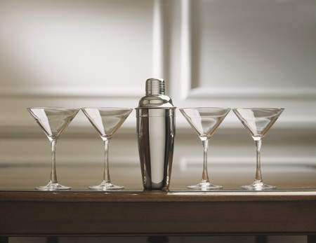 martini shaker: Four Martini Glasses with Cocktail Shaker