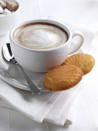 hot coffees: Cup of Cappuccino with Two Madeleines LANG_EVOIMAGES
