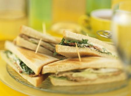 several breads: Tuna sandwiches (in toast)