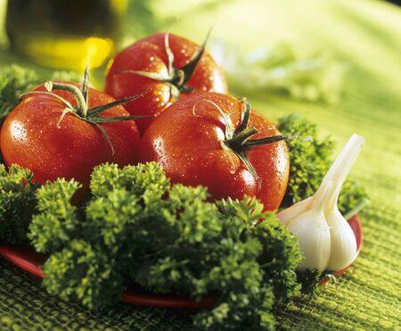 petroselinum sativum: Salad ingredients: tomatoes. garlic. parsley LANG_EVOIMAGES