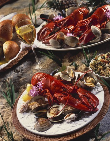 lobster dinner: Boiled Lobster Dinner with Rolls and Wine