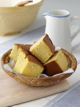 cornbread: Cornbread cut into pieces