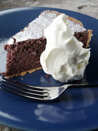 chocolate tart: Slice of Chocolate Tart with Whipped Cream LANG_EVOIMAGES