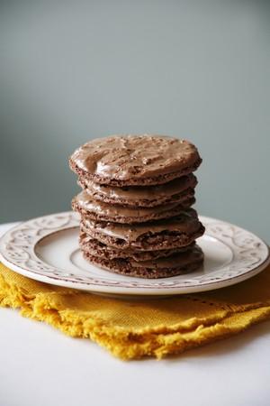 coatings: Stack of Chocolate Iced Chocolate Cookies