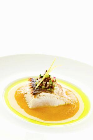 tunafish: Seared Big Island Kanpachi with Yellow Hauula Tomato-Curry Sauce LANG_EVOIMAGES