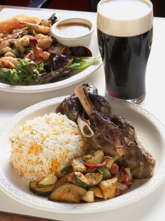 near beer: Lamb with Roasted Vegetables and Somali Rice. Guinness LANG_EVOIMAGES