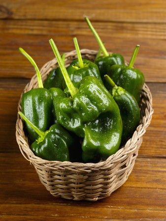 pimiento: Poblano Peppers in a Basket LANG_EVOIMAGES
