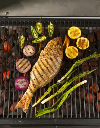 broiling: A Whole Snapper on the Grill with Lemons. Onions and Jalapenos LANG_EVOIMAGES