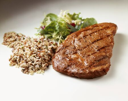 qs: Grilled Steak with Wild Rice and Salad on White