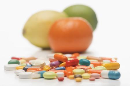 감귤류의 과일: 비타민 정제 및 감귤류
