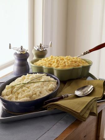maccheroni: Mashed Potatoes and Macaroni and Cheese in Baking Dishes