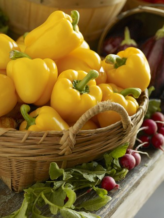 bell peppers: Basket of Yellow Bell Peppers